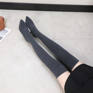 Image 5 - Sexy Vrouwen Over De Knie Laarzen Sok Warm Hoge Hak Schoenen Stretch Breien Dunne Hak Fashion 2019 Winter Vrouwen Wees teen Laarzen