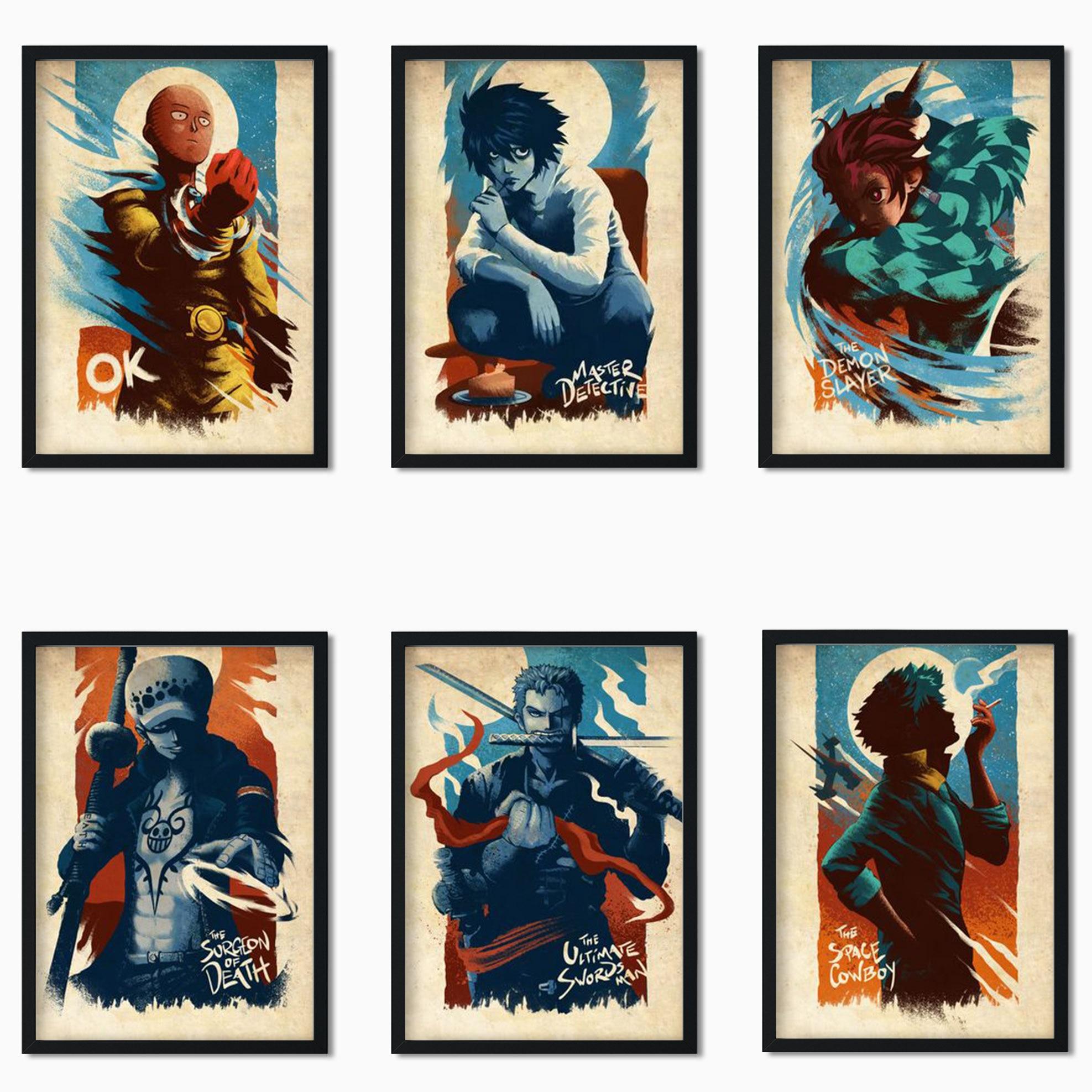 Один пуансон/один кусок/король обезьяны/моя геройская Академия/и т. д. Японское популярное аниме Ретро стиль декоративная живопись художест...