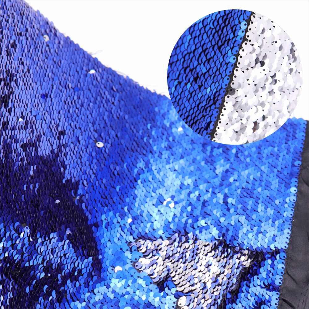 Yüksek kaliteli 130*50cm iki taraflı pullu kumaş balık pulu payet kumaş parlak madeni pul kumaş elbise/Bikini/yastık /giysi