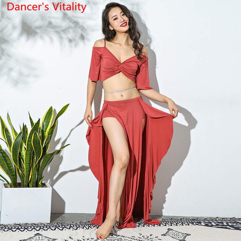 New Women Belly Dance Practice Clothing Modal Split Lotus Leaf Long Skirt+Sexy Deep V Collar Top Dance Suit