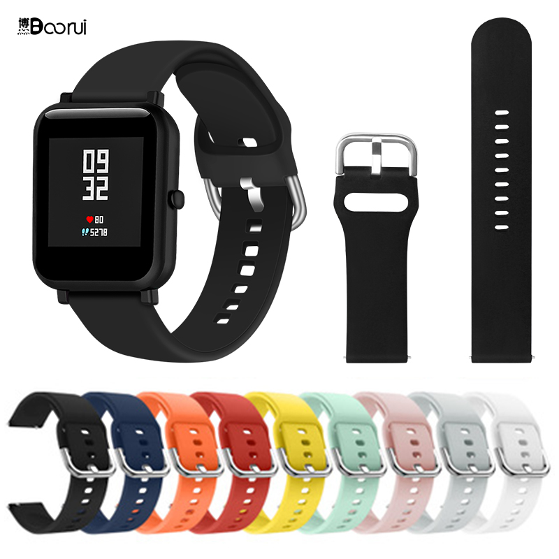 BOORUI Silicone Strap For Huami Amazfit Bip Wrist Strap 20/22mm For Samsung Galaxy Watch Active Band With Fashional Colors