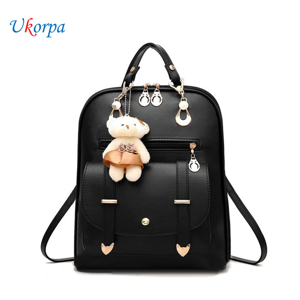 New Backpacks Women PU Leather Backpack For Teenager Girls Female Fanny Pack Mochila With Bear Hanging Ornament Mochila Feminina