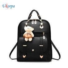 New Backpacks Women PU Leather Backpack For Teenager Girls Female Fanny Pack Mochila With Bear Hanging Ornament Mochila Feminina