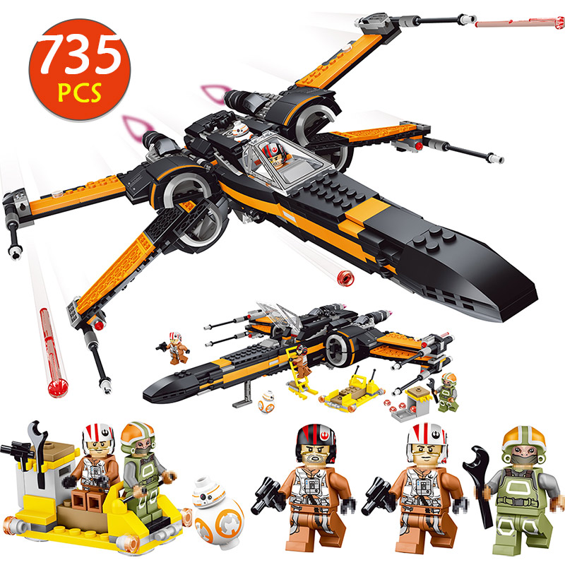 Poe's X wing Fighter Starwars Compatible Legoinglys Building Blocks Bricks Fighter Assembled Fighter Star Wars X Wing Toys