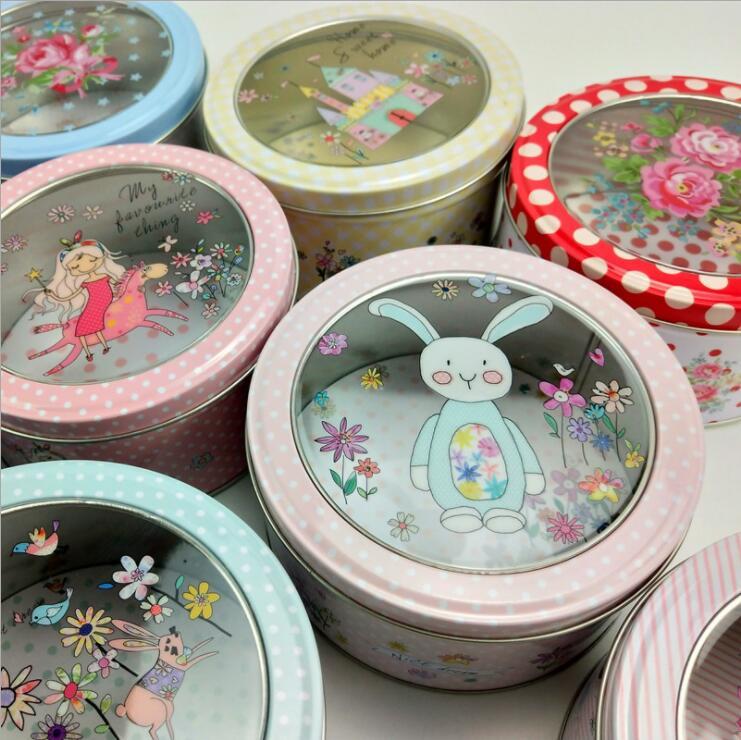 Creative Transparent Sunroof Film Tin Box Medium Floral Round Cookie Gift Box Tea Candy Jewelry Seasoning Storage Box
