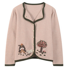Women Cardigan Cartoon Animal Embroidery Sweater Coat Flowers Knitted Top Loose Button Overcoat Autumn Winter Outwear V-Neck(China)