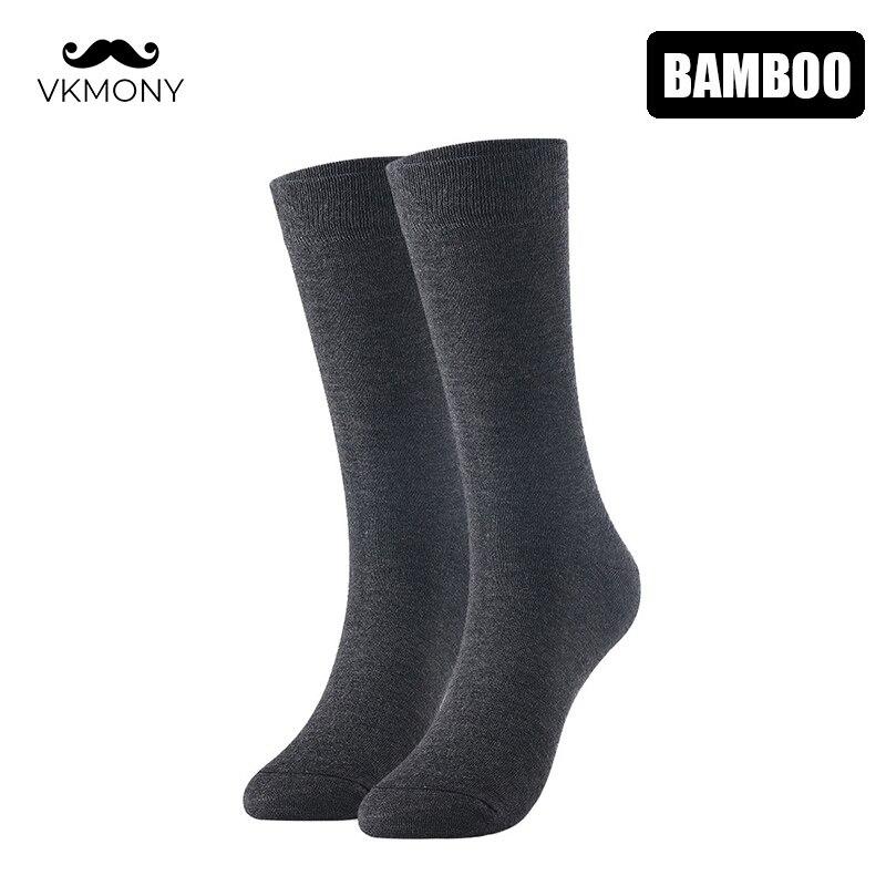 Мужские носки из бамбукового волокна длинные носки для высоких ботинок мужские деловые однотонные носки UK Размер 7-11 EUR Размер 40-46 VKMONY