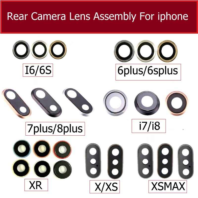 Terug Achteruitrijcamera Glas Lens Ring Cover Met Frame Houder Voor Iphone 6 6S 7 8 Plus X Xr xs Max Camera Glas Lens + Frame Delen