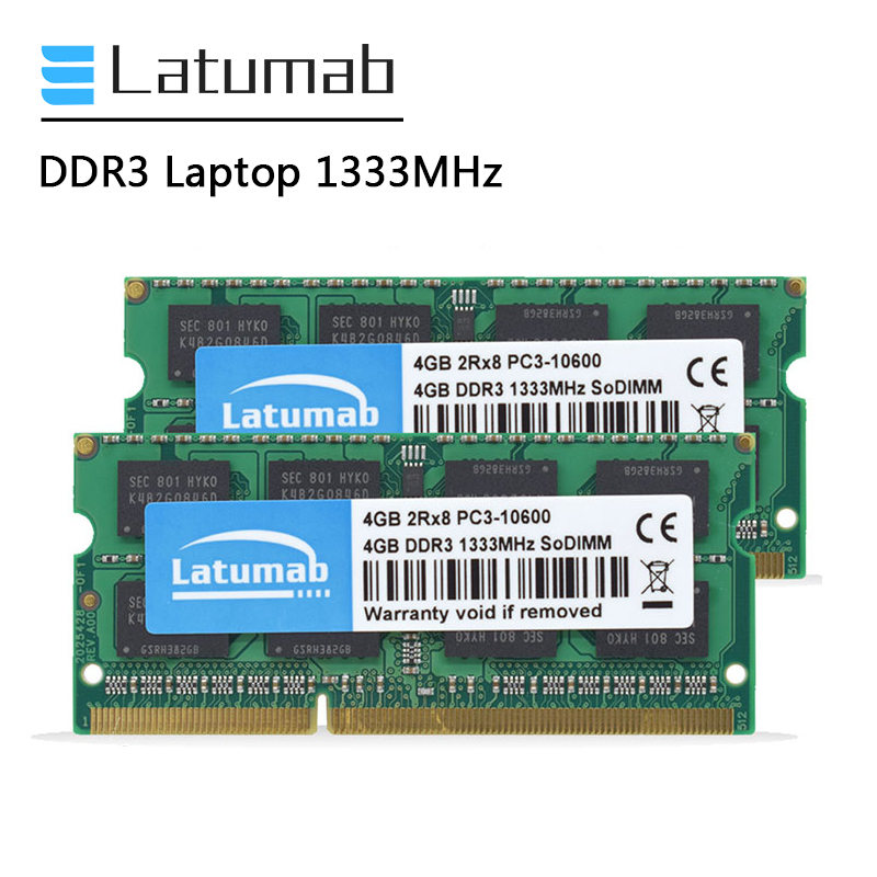 Latumab DDR3 2GB 4GB <font><b>8GB</b></font> <font><b>RAM</b></font> <font><b>Laptop</b></font> Memory 1333MHz PC Memory PC3-10600 So Dimm <font><b>RAM</b></font> Notebook Memory Module image