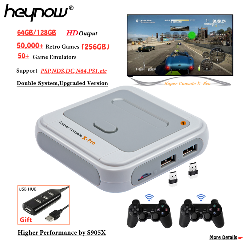 2 SNES Wireless Controllers Built-in 41,000 PRO-128G 2 SNES Wired Controllers /& Travel Carry case Gamebound Super Console X Pro HDMI TV Retro Videogame Player Games