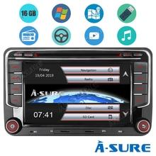Автомобильный мультимедийный плеер A-Sure, 2 Din, автомобильное радио, DVD-плеер, GPS-навигация DAB + BT для VW Volkswagen Golf 5 6 Polo Passat B6 Seat Skoda