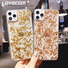 LOVECOM Luxury Gold Foil Transparent Case For iPhone 11 Pro Max XR XS Max 6S 7 8 Plus X Shockproof Soft Epoxy Phone Back Cover(China)