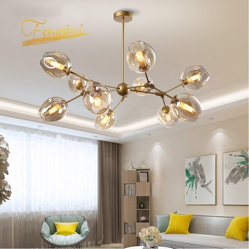 Modern Led Chandelier Metal Molecular Lamp Pendant Ceiling Decor Glass Ball Lamp Living Room Bedroom Indoor Chandelier Lighting