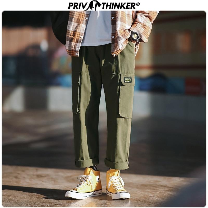 Privathinker Men Japan Spring Summer Loose 2020 Pockets Overalls Mens Collage Hip Hop Casual Pants Male Black Streetwear Bottoms