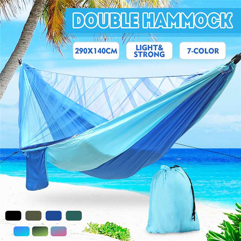 Double Camping Hammock With Mosquito Net 2 Persons Outdoor High Strength Parachute Fabric Hanging Bed Hunting Sleeping Swing