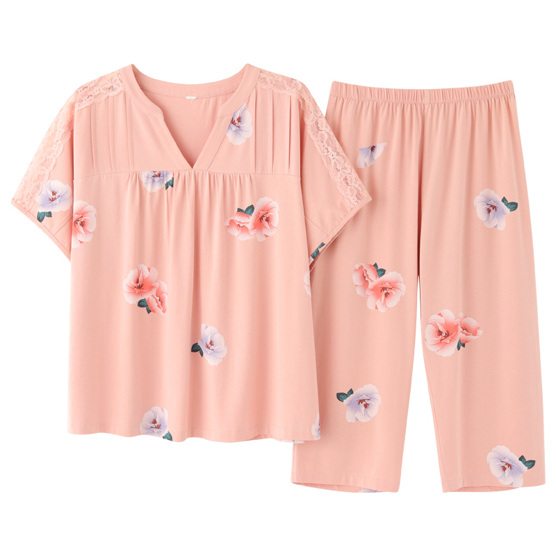 Pj S Elegant New Short Sleeve Capris Pajamas Set Homesuit Homeclothes Fashion Style Casual Style Sleepwear Floral Women Clothes