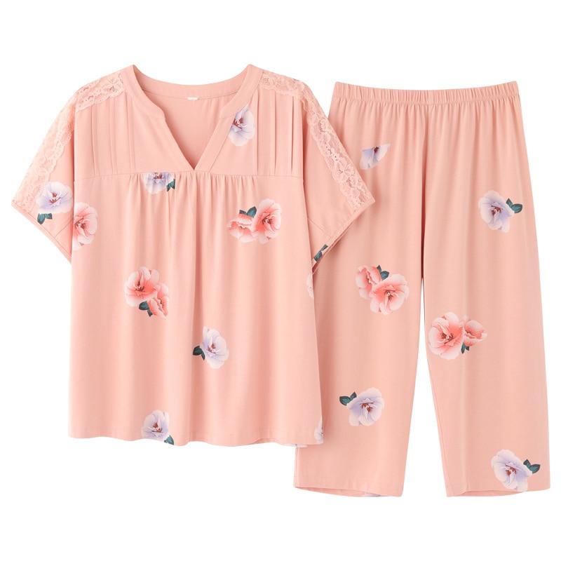 Pj S Elegant New Short Sleeve Capris Pajamas Set Homesuit Homeclothes Fashion Style Casual Style Sleepwear Floral Women Clothes