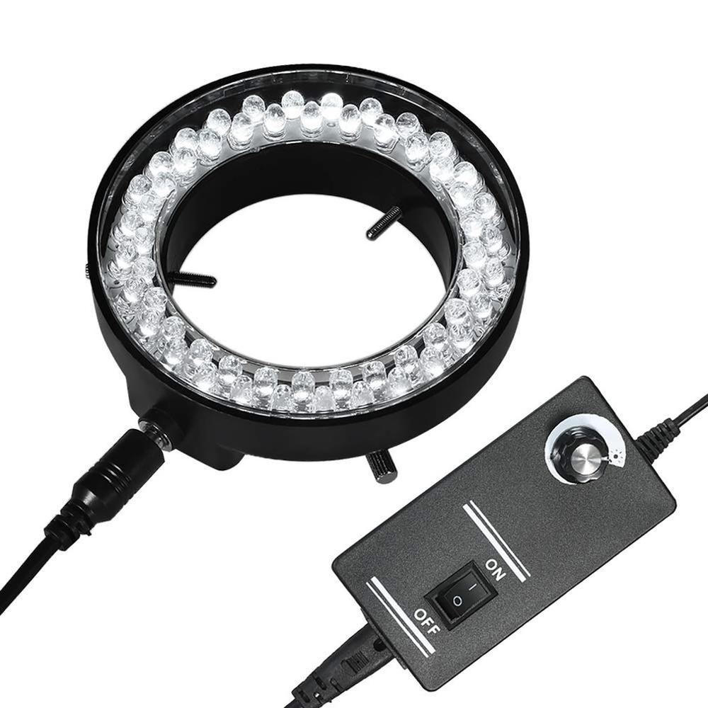 Lampe réglable d'illuminateur de lumière d'anneau de 56 LED pour la loupe de caméra de Microscope stéréo d'industrie adaptateur secteur 90 V-240 V