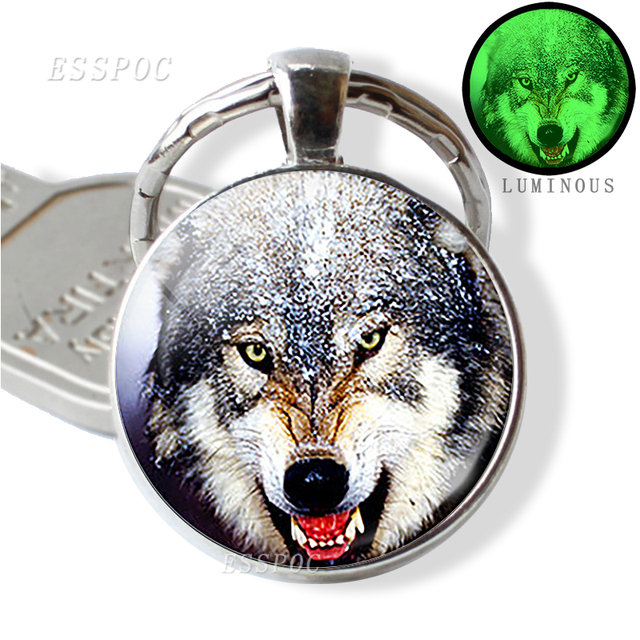 Glow In The Dark Wolf Key Chain Key Rings Holder Luminous Wolf Head Keychain Men Jewelry Gift 4