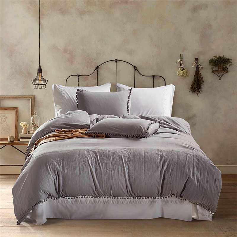 Sisher Nordic King Size Pink Bedding Set Luxury Duvet Cover White Queen Twin Soild Color BedClothes Polyester Quilts Bed Linen