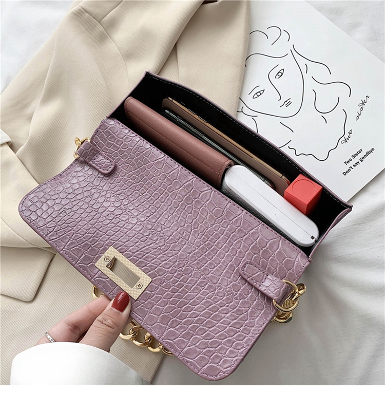 Crocodile Pattern Vintage Soild Color Small Square Bag For Women 2020 summer Handbag And Small Chain Bags Fashion Armpit Bag (27)