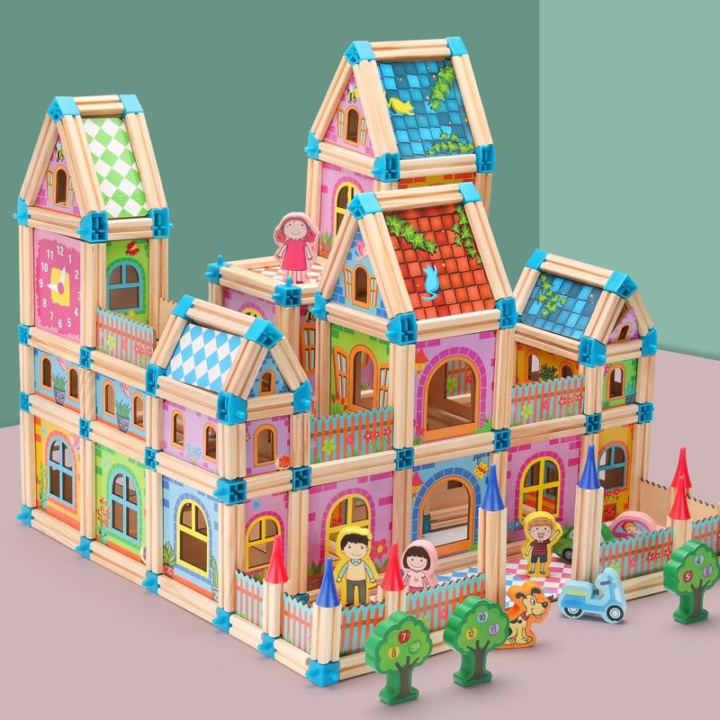 128/268 stücke Holz Bau Gebäude Modell Bausteine kinder Intelligenz Baustein Spielzeug Holz Block Geschenk Für Kind