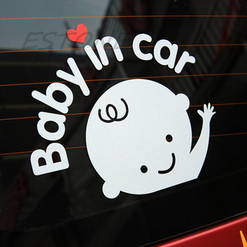 Baby In Car Waving Baby on Board Safety Sign Cute Car Decal / Vinyl Sticker image
