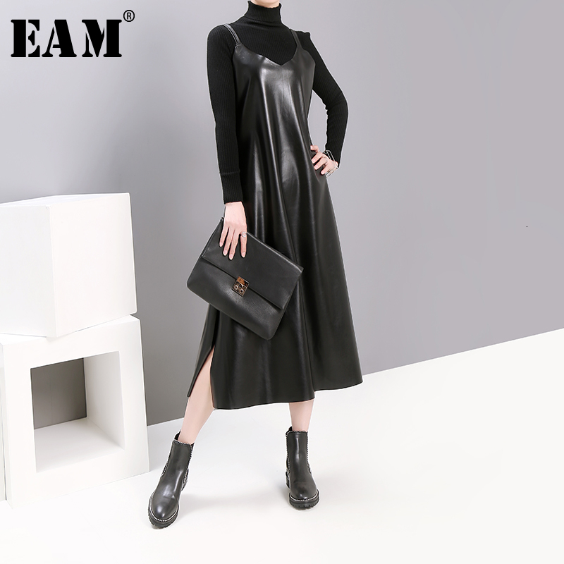 [EAM] Women Black Pu Leather Vent Temperament Dress New Spaghetti Strap Sleeveless Loose Fit Fashion Tide Spring Autumn 2020
