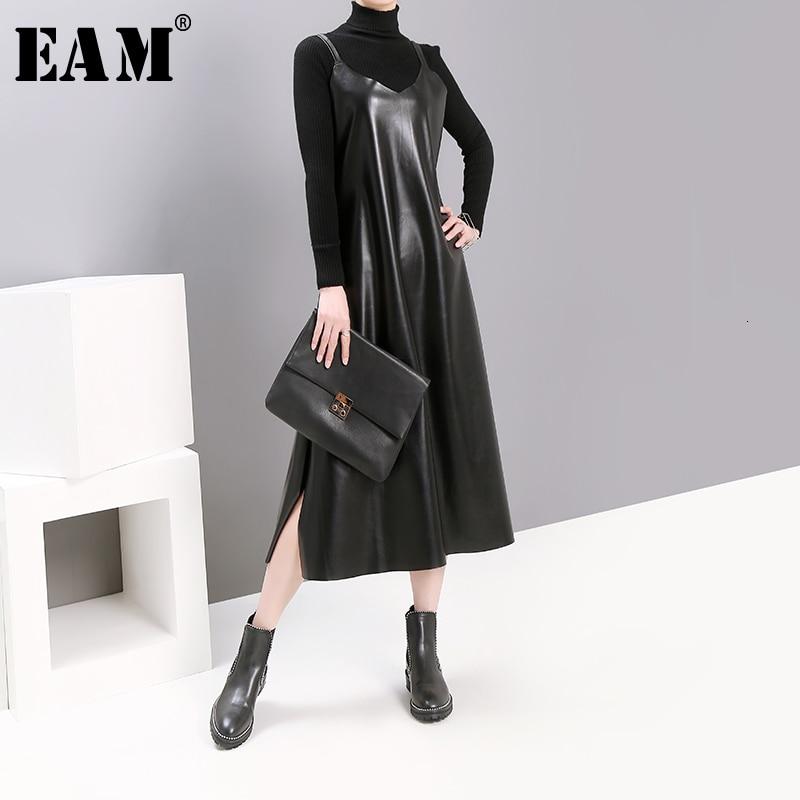 [EAM] Women Black Pu Leather Vent Temperament Dress New Spaghetti Strap Sleeveless Loose Fit Fashion Tide Spring Autumn 2020