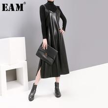 [EAM] Women Black Pu Leather Vent Temperament Dress New Spaghetti Strap Sleeveless Loose Fit Fashion Tide Spring Autumn 2021