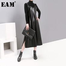 [Eem] kadınlar siyah Pu deri firar mizaç elbise yeni spagetti kayışı kolsuz gevşek Fit moda gelgit bahar sonbahar 2021