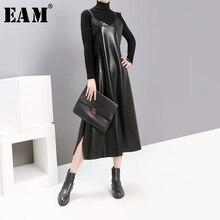 [EAM] النساء السود بولي Leather الجلود تنفيس مزاجه فستان جديد السباغيتي حزام أكمام فضفاضة تناسب المد الموضة ربيع الخريف 2020