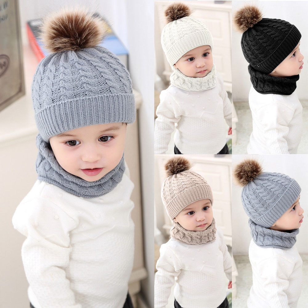 2pcs Baby Girl /& Boys Caps Warm Winter Knitted Beanies Hat and Scarf