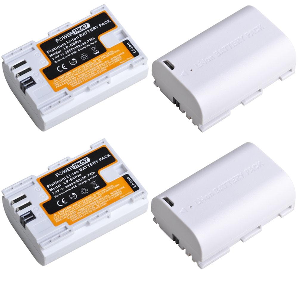 PowerTrust LP-E6 LP E6 2800mAh 7.4V LPE6 LP-E6N Camera Battery For Canon 5D Mark II III IV 5DS 5DS R EOS 6D 70D 80D Cameras