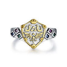 Legend of Zelda Spiritual Stones Zora's Sapphire Link Hylian Shield 925 Sterling Silver Engagement Ring(China)