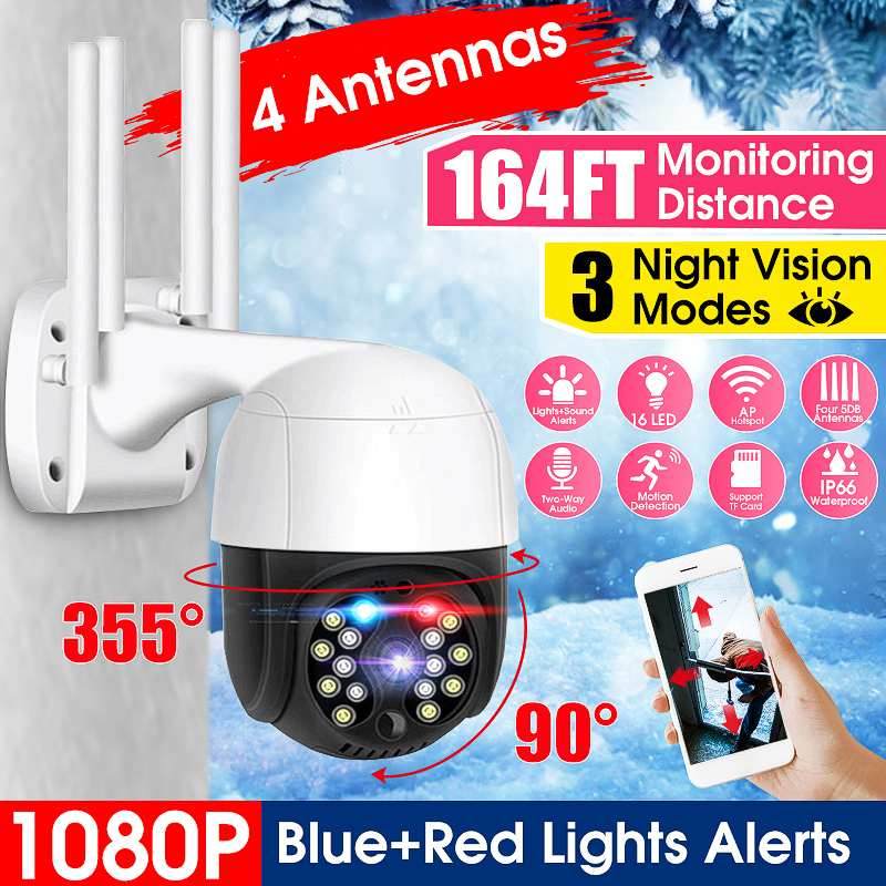 WiFi IP 1080P HD Camera Outdoor Speed Dome CCTV Security Camera Network IR Home Surveillance Camera with 3 Night Vision Mode