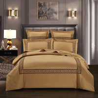 600TC Egyptian Cotton Embroidery Grey Gold Duvet Cover Bedding set King Queen Size 4Pcs Bed sheet Comforter Cover Pillowcases