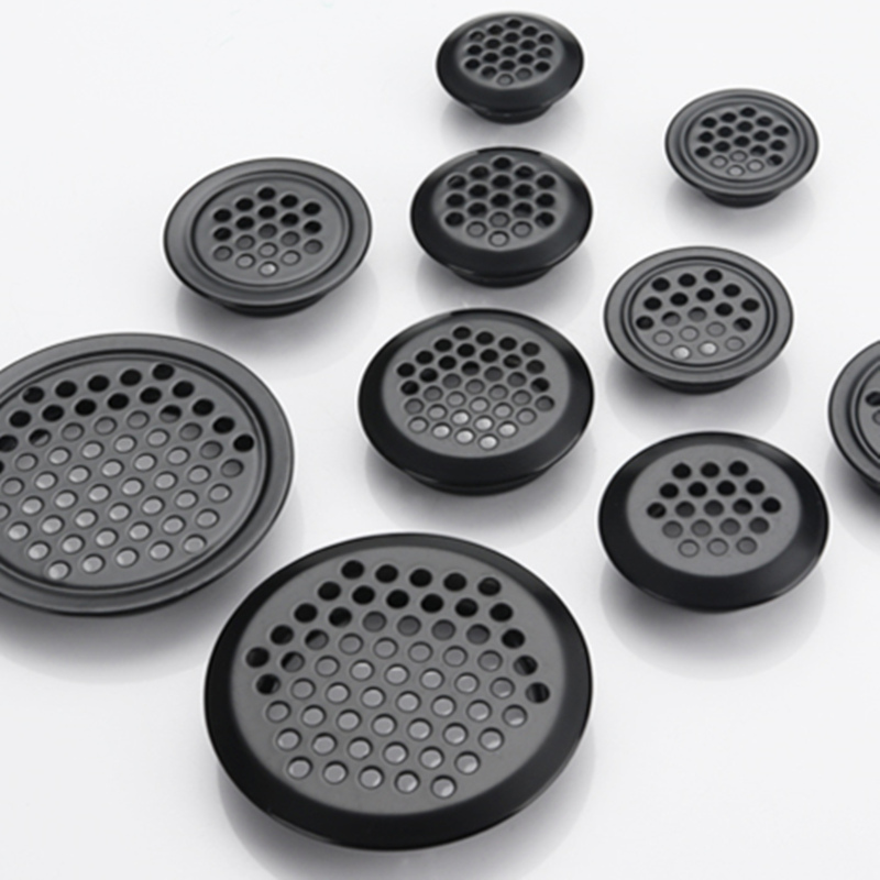 4pcs Wardrobe Cabinet Mesh Hole Black Air Vent Louver Ventilation Cover Stainless Steel Black Color