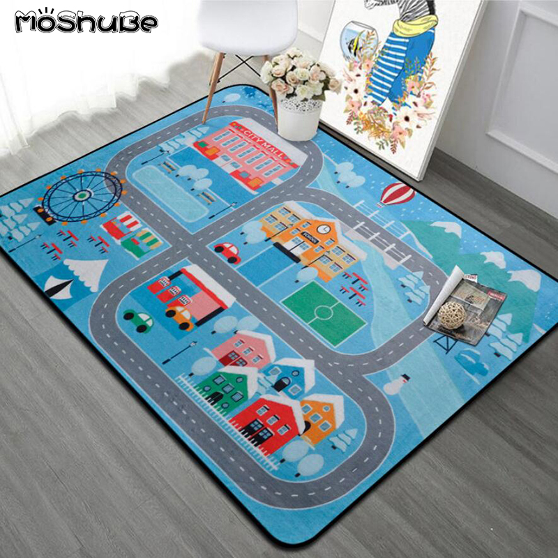 Road Bedroom Carpet Living Room Kids Rug Soft Floor Baby Play Mat Anti-skid Blanket Washable Toys For Children