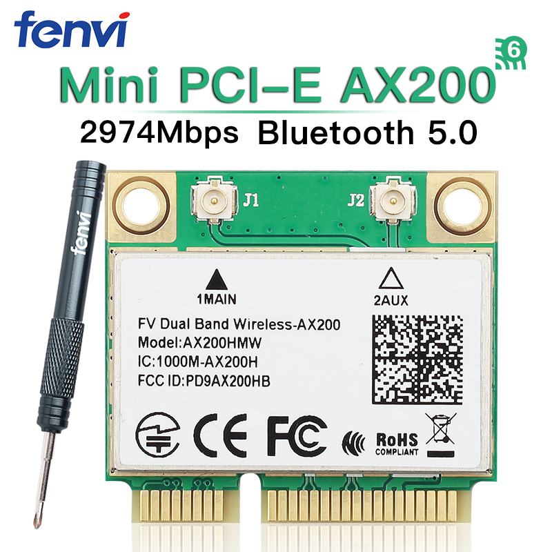 Dual Band Mini PCI-E Wifi 6 Intel AX200 Wlan <font><b>802.11ax</b></font> Wireless AX200HMW 2974Mbps Bluetooth 5.0 Half Mini PCI Express Laptop Card image