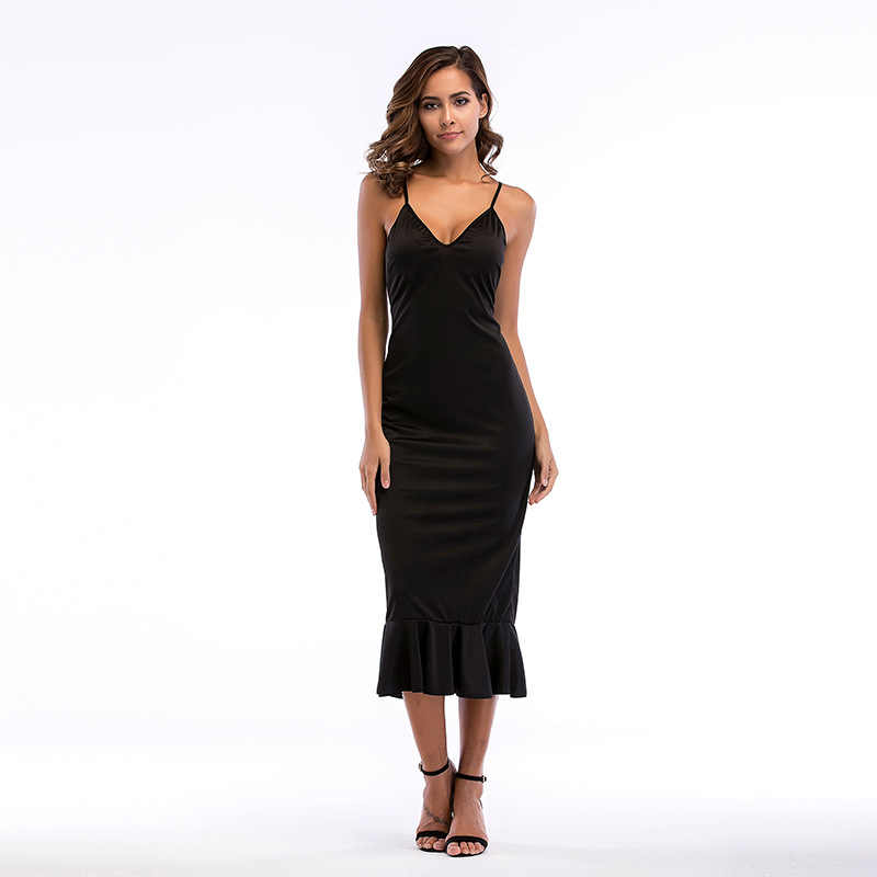 YYFS 2019 Summer Women Dresses Elegant Flounce Embellished Fitted Ruffle Spaghetti Strap Dress Sexy Party V-neck Women Dresses