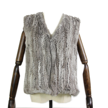 hot SALE Free shipping womens natural real rabbit fur vest without raccoon collar waistcoat/jackets knitted winter