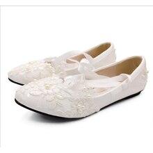 цена на BaoYaFang White Lace Wedding Bridal Shoes 2020 New Handmade women's shoes Round Toe Bridesmaid High Pumps