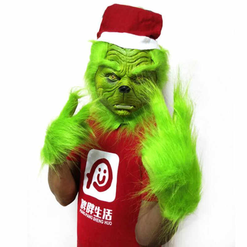 Hot Grinch Plush Glove Christmas Halloween Deluxe Party Cosplay Props XMAS Christmas Decoration Gloves 1 pair Gloves