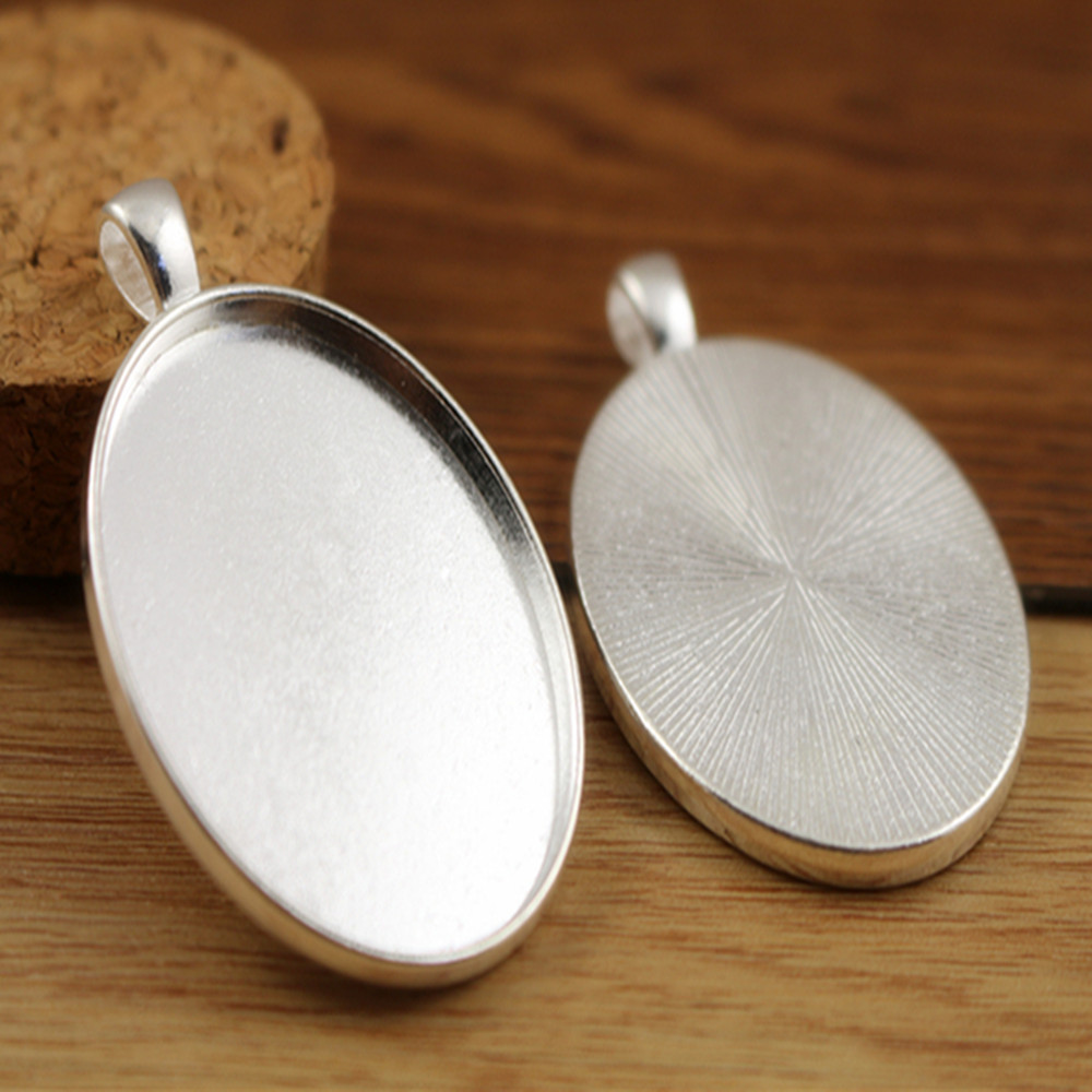 New Fashion 5pcs 30x40mm Inner Size Silver Plated Simple Style Cabochon Base Setting Charms Pendant (B4-06)
