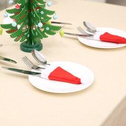 12PCS Christmas Tableware Holder Knife Fork Cutlery Set Xmas Hat Navidad Natal New Year 2020 Christmas Decorations for Home # 4