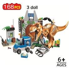 168 pçs tiranossauro breakout blocos de construção jurássico estacionado compatível dinossauros mundo brinquedo para crianças
