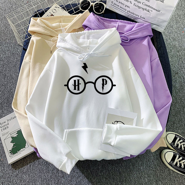 Harajuku Women's Hoodies Hary Style Glasses Print Sweatshirt Pullover Streetwear Moleton Feminino Vintage Clothes Drop 1