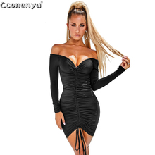 Ladies sexy drawstring dress Autumn Winter black White Slash Neck short