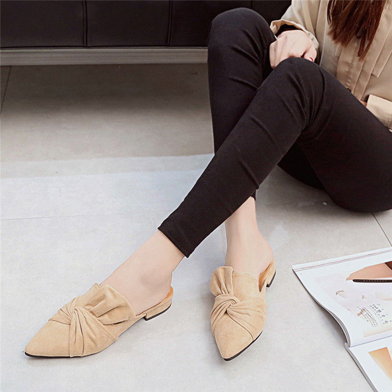 JAYCOSIN Slippers Shoes Bowtie Flock Pointed-Toe Flat Casual-Style Women Mules Fashion